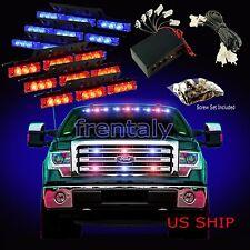 54 LED Car Truck Strobe Emergency Warning Light for Deck Dash Grill Red Blue