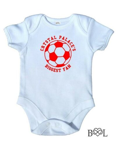 New Baby Boy/'s Babygrow Vest Crystal Palace/'s Biggest Fan Football Gift Bodysuit