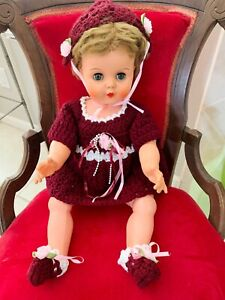 Vtg-Hand-Crocheted-Burgundy-Dress-Outfit-DOLL-NOT-INCLUDED-Fits-18-24-034-Dolls