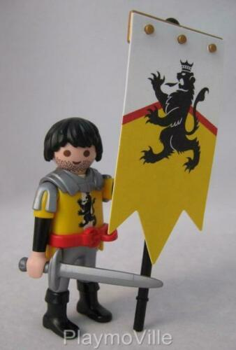 BLACK LION KNIGHT porte-drapeau NOUVEAU Playmobil Château Extra Figure