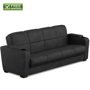 Convertible Sofa Bed Couch Black Microfiber Storage Arm Full Size