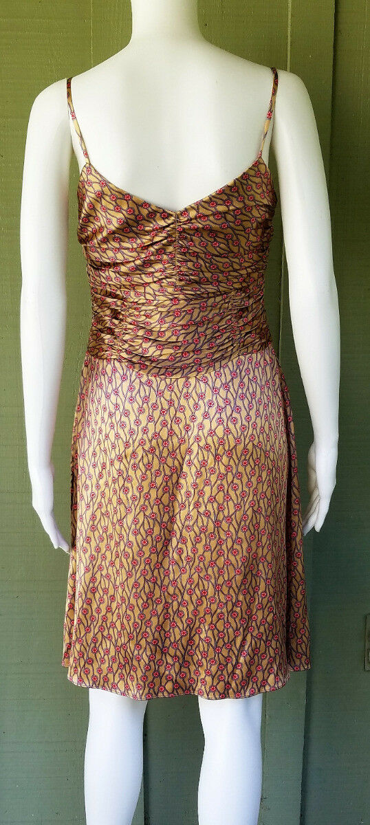 New TOCCA gold Print Silk Charmeuse Ruched Dress    2 b7baed