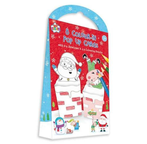 8x Colour In Pop Up Christmas Cards Kids Xmas Crafting Art Home Made Cards