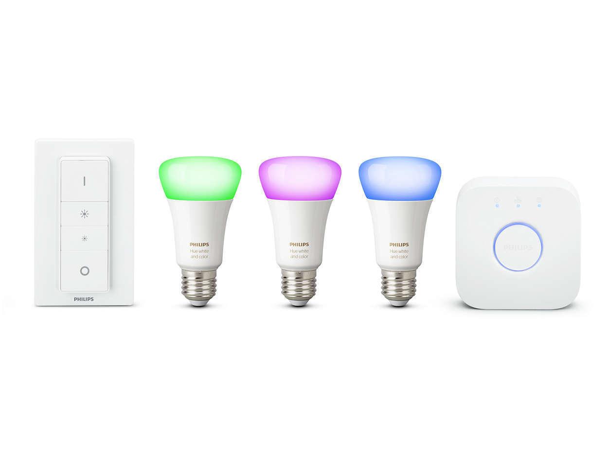 Philips Hue E27 es Color blancoo ambiente más ricos Colors Starter Kit Con Atenuador