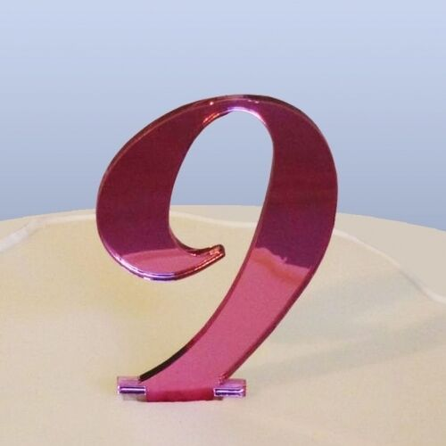 Number 9 Script Pink Acrylic Mirror Cake Topper Approx 6cm-4cm spike FREE P/&P