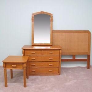 Honey Rattan 4 Piece Queen Bedroom Set