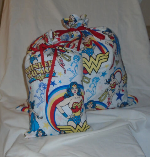 Wonder Woman Design Homemade Fabric Gift Bag with Attached Ribbon