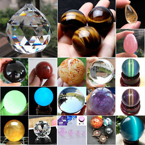 Rare-Natural-Quartz-Magic-Gemstone-Sphere-Crystal-Reiki-Healing-Ball-Stone-Lot