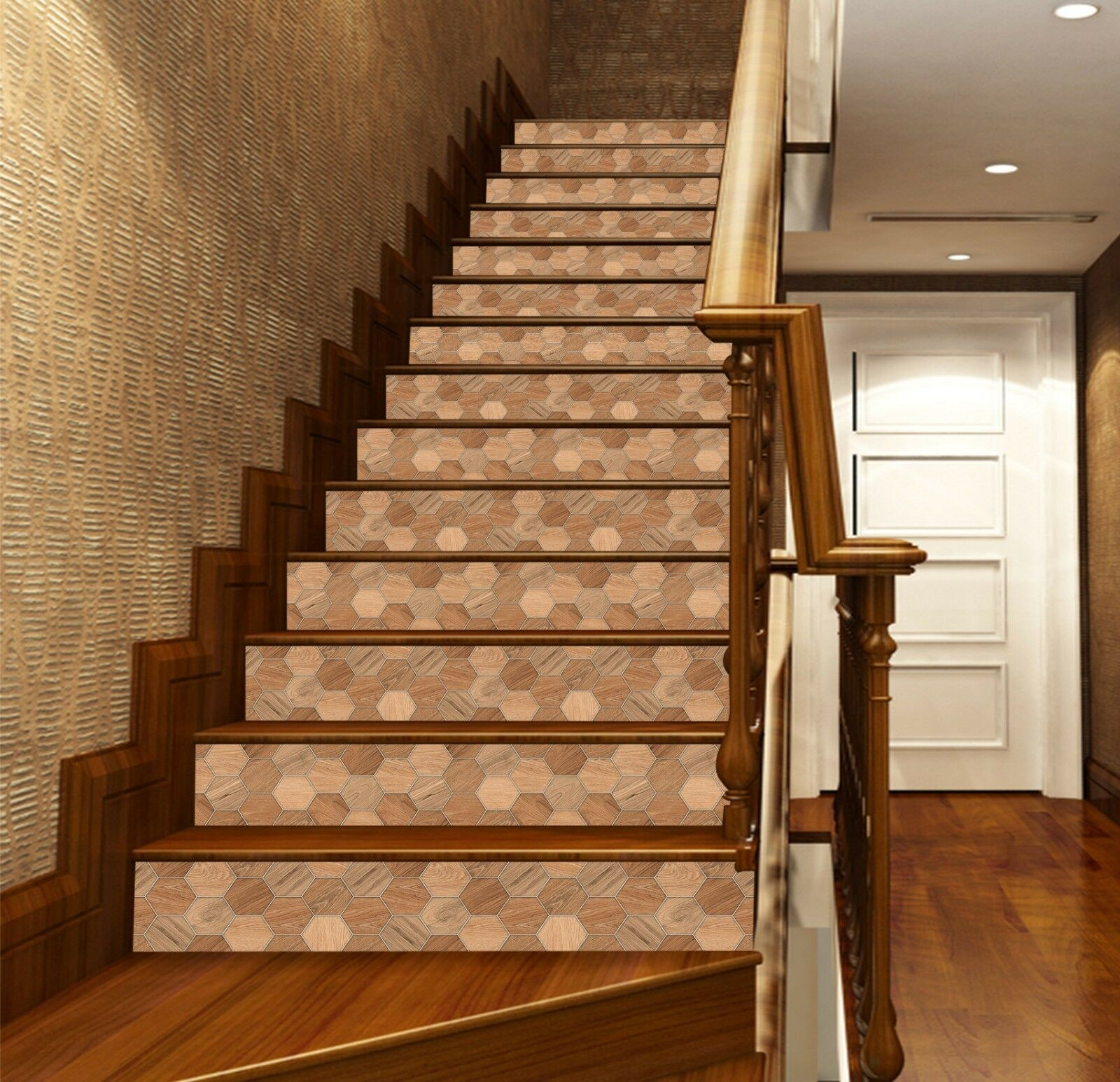 3D Hexagonal Wood 6 Tile Marble Stair Riser Photo Mural Vinyl MXY Wallpaper