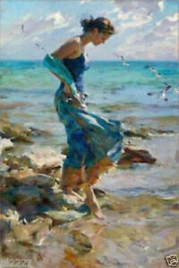 LMOP903-the-blue-dress-lady-in-seaside-amp-flying-birds-art-oil-painting-on-canvas