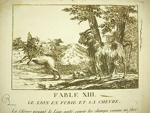 Amical Fable Xiii Le Lion En Furie Et La Chèvre The Raging Lion And The Goat C 1800 GuéRir La Toux Et Faciliter L'Expectoration Et Soulager L'Enrouement