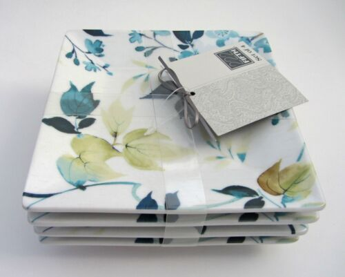 "222 Fifth TAKARA Floral Pattern Dessert Appetizer Square 5.5/"" PLATES SET-4 NEW"