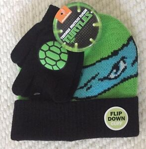 Teenage Mutant Ninja Turtles Boy Hat Beanie Gloves Set Leonardo Green Grey Black