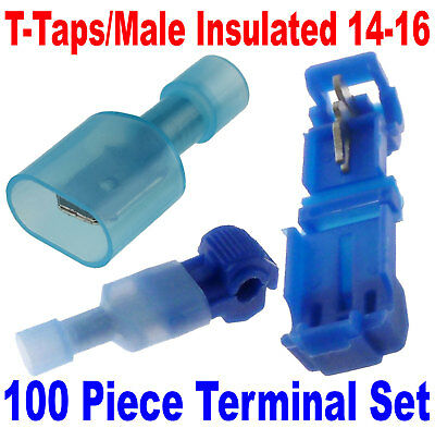 300PCS 20-22AWG T-Taps//Male Quick Splice Wire Connector Crimp Terminal Car Audio