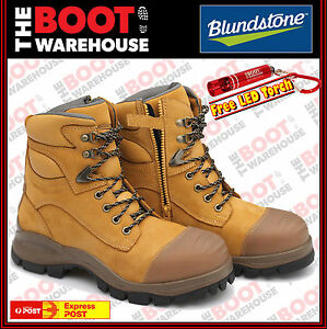 Blundstone-992-Steel-Toe-Safety-Men-039-s-Work-Boots-Wheat-150mm-Lace-amp-Zip-Side