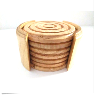 Set of 6 Rustic Wooden Round Drink Rests Wood Coasters for Drinks with Holder