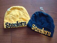 PITTSBURGH STEELERS BEANIE BABY NEWBORN 2-PCS LOT TOBOGGAN  HAT CAP VINTAGE