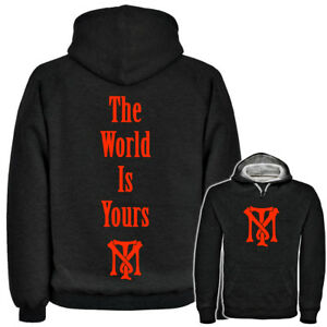 mens scarface the world is yours hoodie tony montana gangsta logo