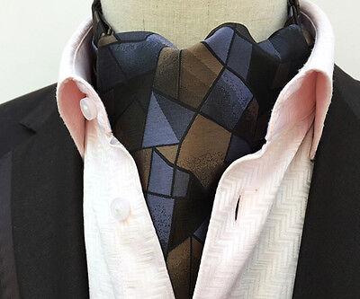 Bronze Shiny Men Ascot Cravat With Matching Hanky Pocket Square Tie Set LJB05