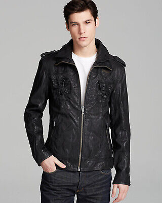 """2XL 44/"""" New Mens Superdry Leather Rotor Jacket Black Size RRP £199.99 112cm"""