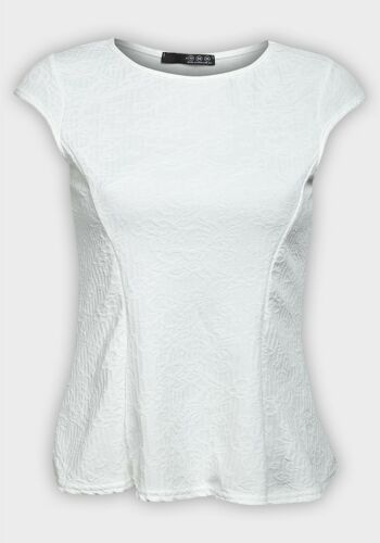 Women Cap Sleeve Ivory Peplum Top Sizes UK 8-12 EX Chain-store Ladies