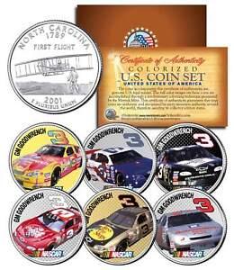 DALE-EARNHARDT-GM-Goodwrench-3-NASCAR-Race-Cars-NC-Quarters-U-S-6-Coin-Set