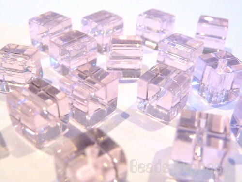 Light Pink 6mm 50 Crystal Glass Cube Beads BC6008