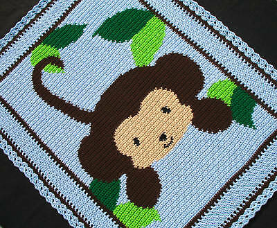Crochet Patterns Baby Jungle Monkey Afghan Pattern Ebay