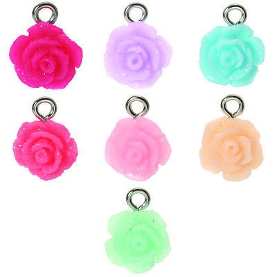 50pcs//lot Candy Color Resin Rose Flowers Charms Pendant DIY Jewelry Making Craft
