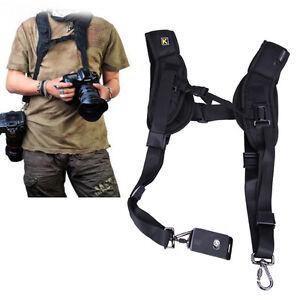 Double-Shoulder-Sling-Belt-Quick-Release-Sangle-de-K-pour-2-DSLR-appareil-photo-numerique-Plaque