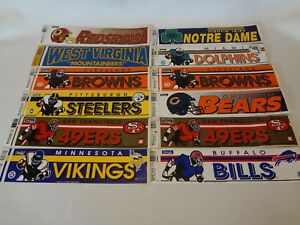 Lot-Of-Vintage-NFL-Football-1990-039-s-Wincraft-Bumper-Stickers-12-NCAA