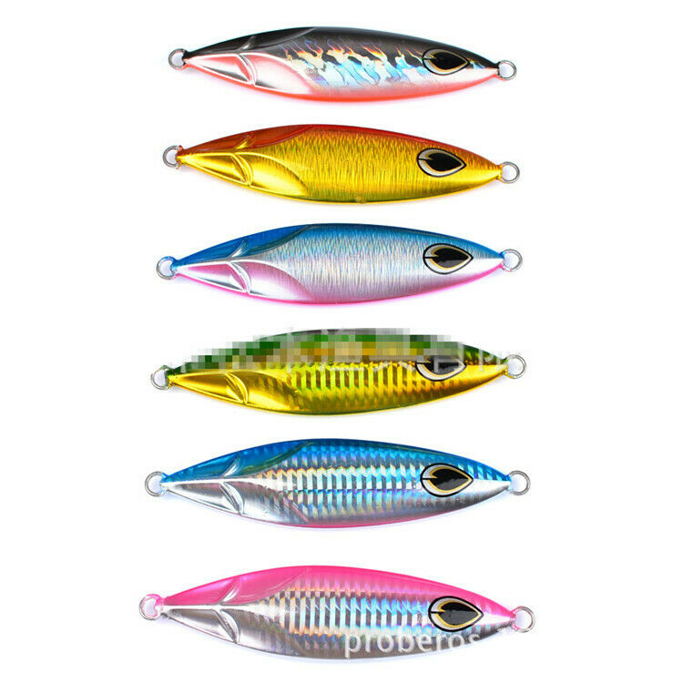 6pcs Metal Fishing Lures Jig 180g Kingfish Snapper Knife Jig Butterfly Slow Lure