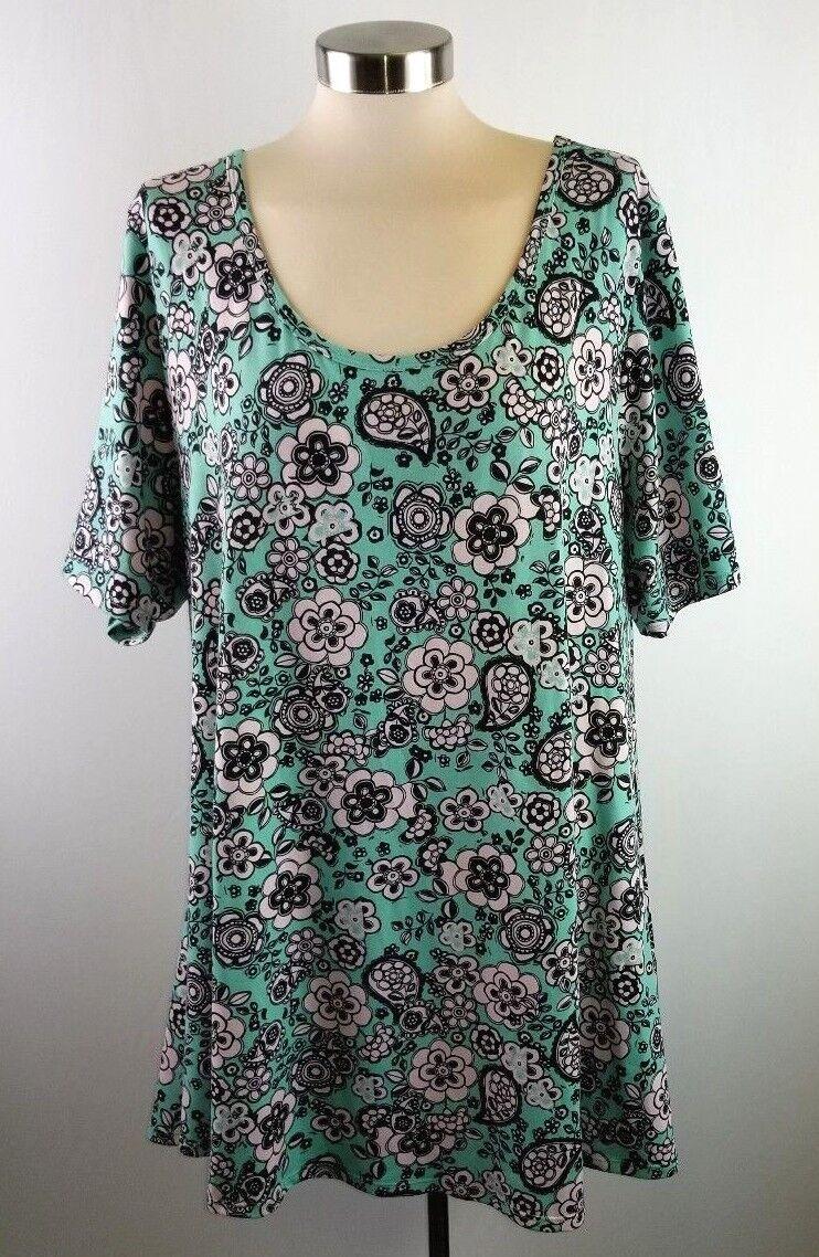 LuLaRoe Womens 2X Short Sleeve Mint Green Pink Floral Irma Short Sleeve Top