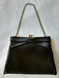 Vintage-Peck-amp-Peck-Fifth-Avenue-New-York-Black-Leather-Small-Bow-Purse-Handbag