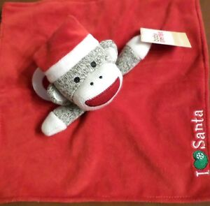 Baby Starters Sock Monkey Santa Security Blanket Rattle I Love Santa Red Ebay