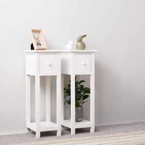 Image Is Loading Pair Of Tall Slim Bedside Tables Cabinets Modern