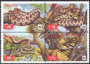 Ukraine-2002-WWF-Leopard-Snakes-Endangered-Animals-Nature-4v-set-s-t-blk-s15