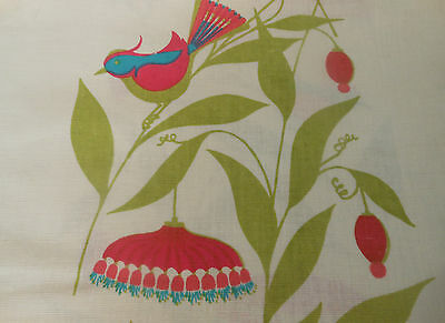 RSVD~  Bird Floral Fabric ~ Pink Turquoise