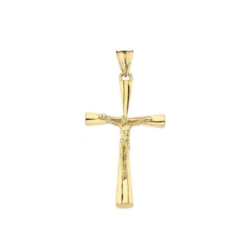 Small Solid Gold Crucifix Cross Pendant Necklace in Gold Yellow//Rose//White