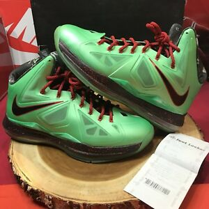 outlet store sale 57468 c3739 Image is loading Nike-Lebron-X-Cutting-Jade-Xmas-541100-303-