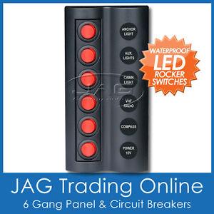 6 GANG RED ROUND LED ROCKER SWITCH PANEL & CIRCUIT BREAKERS -Boat/Marine/Caravan
