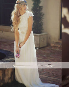 Details About Boho Lace Chiffon Beach Wedding Dress Cap Sleeves Bridal Gown 2 4 6 8 10 12 14
