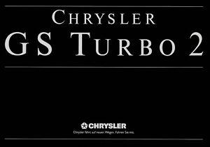 Chrysler Gs Turbo 2 Prospekt 1988 4/88 Autoprospekt Broschyr Brochure Broshura Automobilia