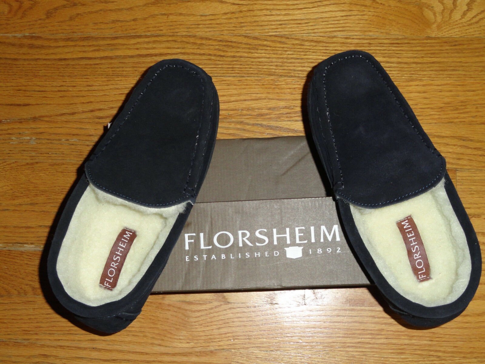 Mens 11 Florsheim Genuine Suede Venetian Moc Moccasins Slippers Navy bluee New