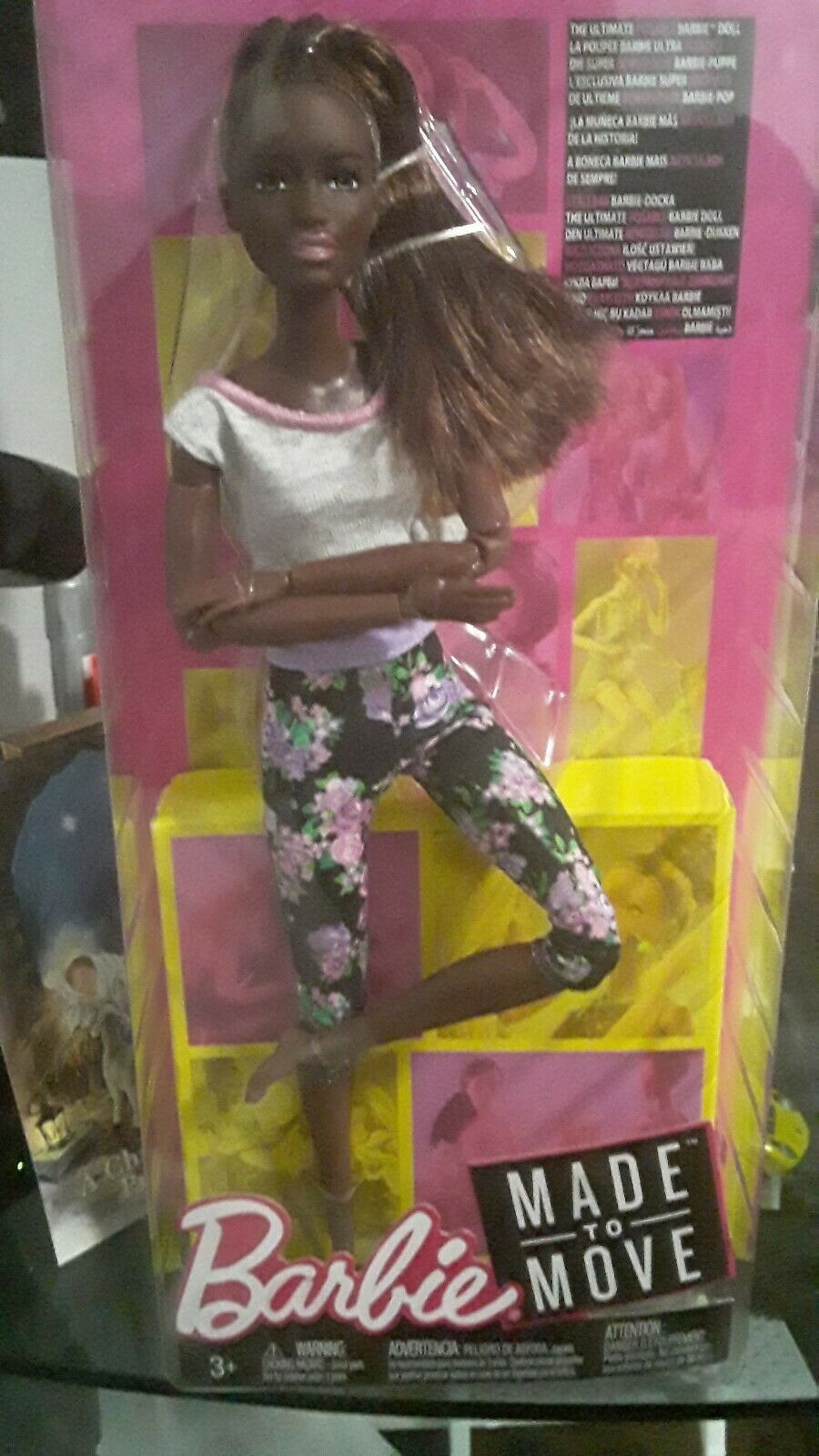 New 2018 AA Barbie Made to Move Doll African American Dark Hair Floral Grey Top