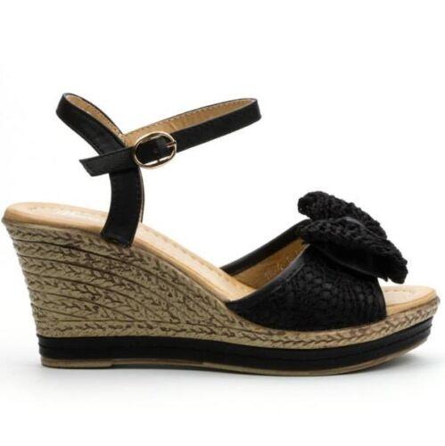 Comfort Ladies Embellished Straps Wedge Sandals Size UK 3-8 EU 36-4 1 926