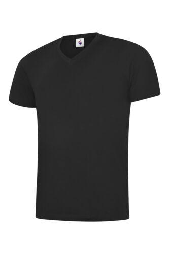 Mens Uneek 5 PACK Classic V-Neck T-Shirt Plain 100/% Cotton Blank Tee T shirt TOP
