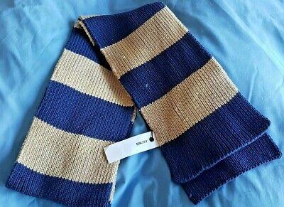 Ragazzi Autentico Dkny Blue & Beige Sciarpa-nuovo Con Etichette, Ex Display-rrp £ 16.99-mostra Il Titolo Originale