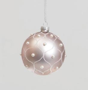 Set 4 Rose Rose//Blanc Détail Glass Baubles Décorations de Noël 2 Designs