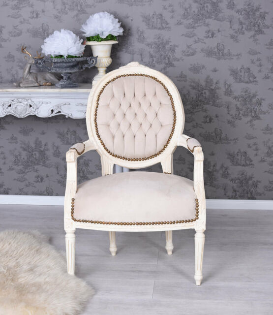 Armchair Armrest Chair Baroque Medallion White Velvet Dining